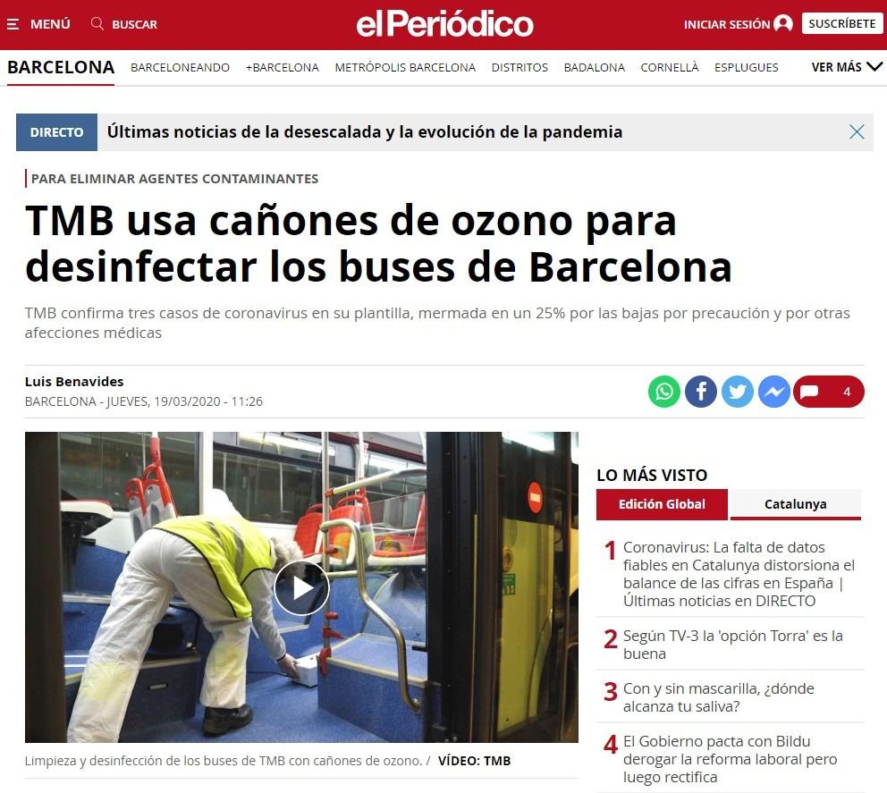 TMB usa cañones de ozono para desinfectar los buses de Barcelona